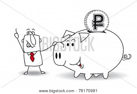 Piggy bank and ruble.This business man saves money in his Piggy bank . It's a metaphor. It's a good plan for the future