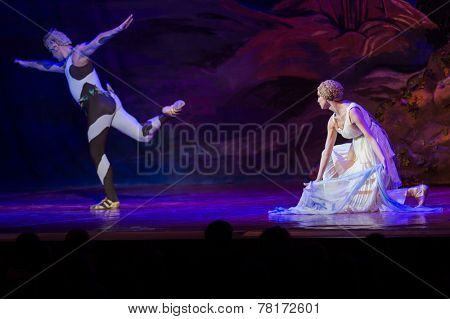 MOSCOW - DECEMBER, 09: Nikolay Tsiskaridze and Ilze Liepa. The Afternoon of a Faun Ballet. 200th Anniversary of Lermontov. December 09, 2014 in Kremlin Palace, Moscow, Russia