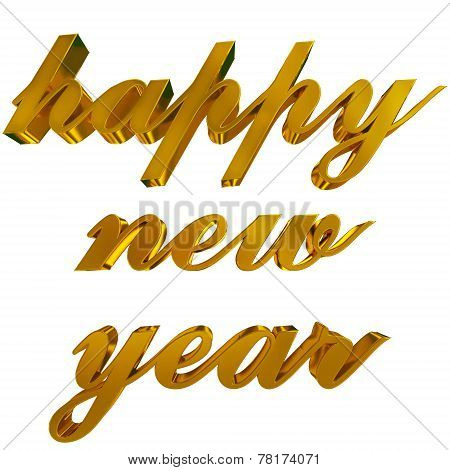Happy New Year Greeting, Golden 3D Letters On White