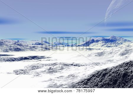 3D Rendered Fantasy Alien Planet. Rocks And Snow
