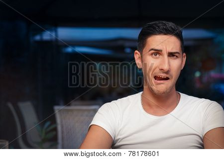 Funny Expressive Man Screaming Desperate