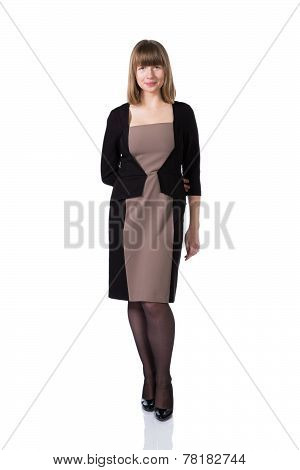 Woman in business suit isolated over white background.