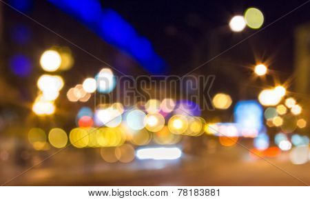 Abstract Background Of Blurred Street City Lights