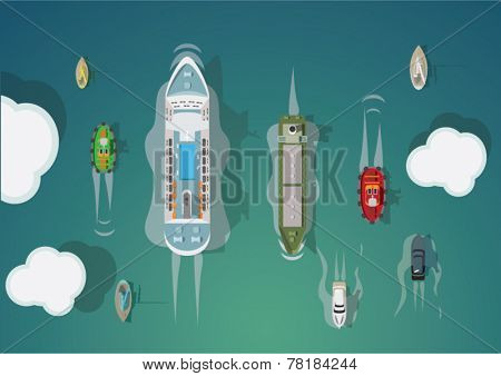 Different types of ships. Top view. Vector set.