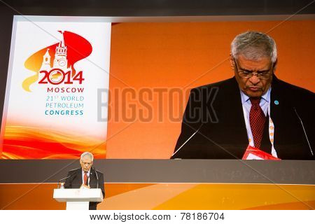 MOSCOW, RUSSIA, JUNE, 16: Abdalla Salem El-Badri, Secretary General of OPEC. 21st World Petroleum Congress, June, 16, 2014 at Crocus Expo  in Moscow, Russia