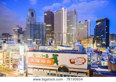 TOKYO, JAPAN - MARCH 14, 2014: Skyscrapers in the West Shinjuku district of Tokyo. It is the main skyscraper district of the city.