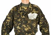 Army uniform jacket with dollars isolated on white background poster