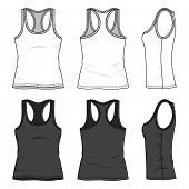 Blank women's tank top in front back and side views. Vector illustration. Isolated on white. poster