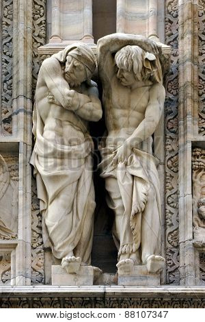 Statues In  Front Of The Dome Of Milan