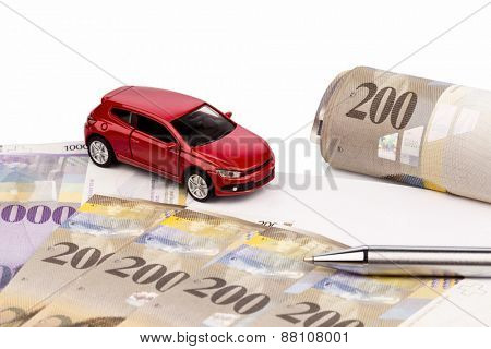 the purchase contract for a new car at a swiss car dealers. with swiss francs.