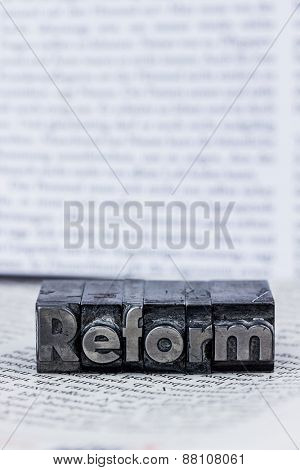 the word reform in lead letters written. photo icon for quick correspondence