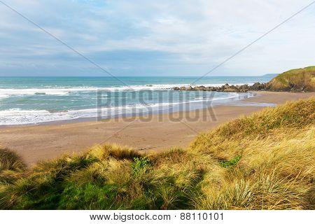 Challaborough beach South Devon uk popular surfing beach near Burgh Island and Bigbury-on-sea