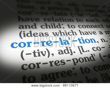 "Dictionary definition of the word ""Correlation"" on paper. poster"