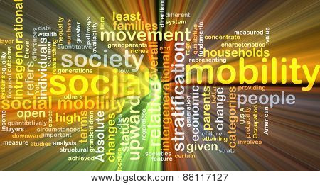 Background text pattern concept wordcloud illustration of social mobility glowing light