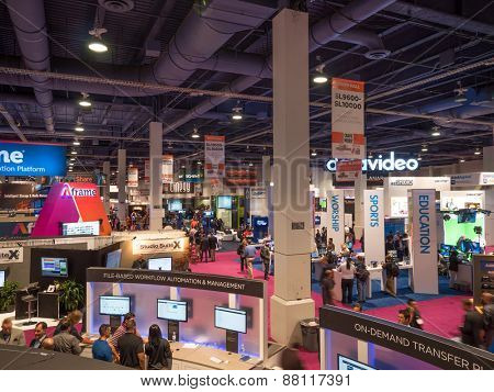 LAS VEGAS, NV - April 15: NAB Show 2015 exhibition. NAB Show is an annual trade show by the National Association of Broadcasters.1726 exhibitors in Las Vegas Convention Center during April 13-16.