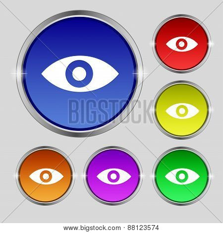 Eye, Publish Content, Sixth Sense, Intuition Icon Sign. Round Symbol On Bright Colourful Buttons. Ve