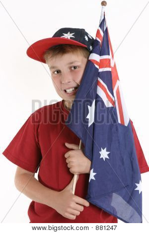 True Blue - Patriotic Boy Holding Australian Flag