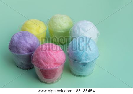 Colorful Cotton Candy In Plastic Cup