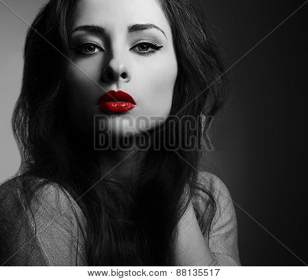Beautiful Makeup Woman With Red Lips Looking Sexy. Black And White