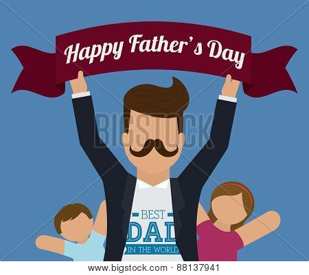Happy fathers day design.