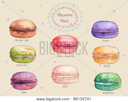 Set of watercolor different taste french macaroons