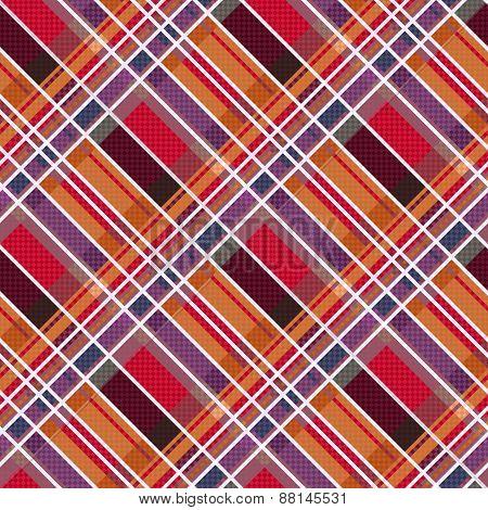 Rhombic Tartan Fabric Seamless Texture In Warm Colors