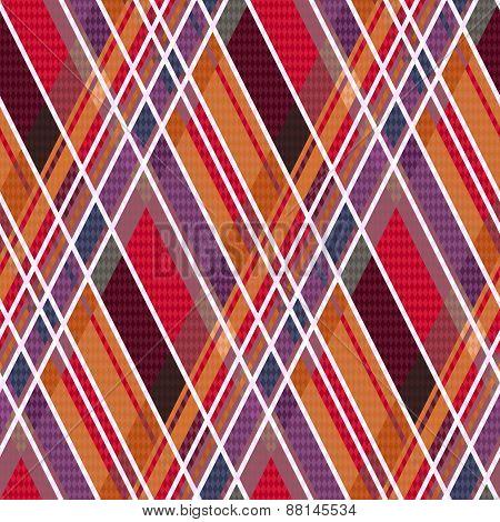 Rhombic Tartan Fabric Seamless Texture In Warm Hues