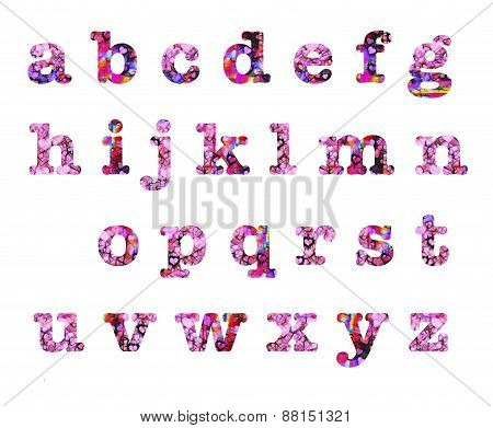 Heart Design Lower Case Letters Alphabet