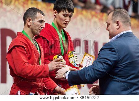 Ernazov Sarbon And Serikov Nurbol On Podium