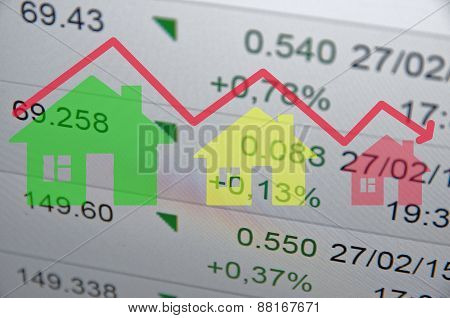 Down trend housing market. Financial data on the background.