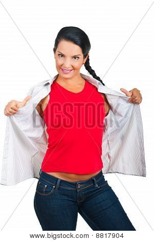 Casual Woman In Blank T-shirt