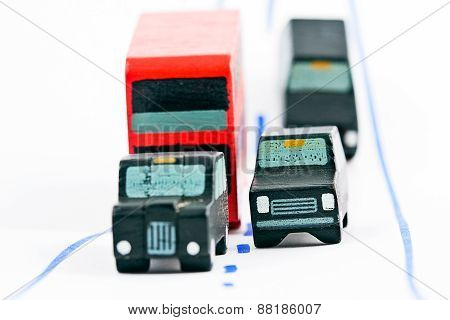 Traffic: Three Car And One Bus (right Focus)