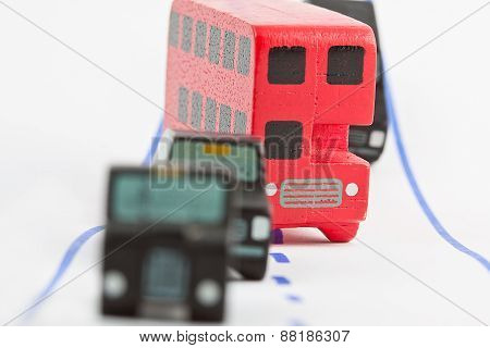 Traffic: Three Car And One Bus (focus On The Bus)