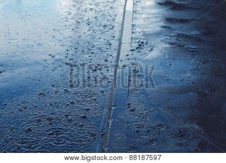 Rain, Autumn Day, Weather Background - Puddle And Splashing Water