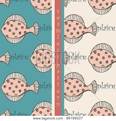set of seamless pattern with fish flounder or plaice