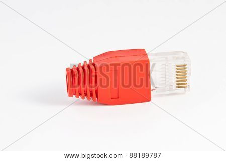Rj45 - Single Plug Red (side View)