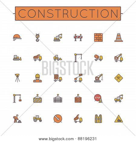 Vector Colored Construction Line Icons