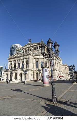 FRANKFURT GERMANY - FEB 22 2015: The Old opera house in Frankfurt Germany. The old Opera House was builded in 1880 The architect is Richard Lucae. poster