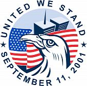 graphic design illustration of 9/11 memorial showing bald eagle with american flag and world trade center twin tower building in the background with date September 11 2001 poster