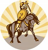 illustration of a warrior with shield and sword on horse poster