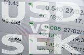 US dollar versus Swedish krona (SEK). Financial background. Trading terminal. poster