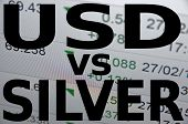 US dollar versus Silver or (XAG). Financial background. Trading terminal. poster