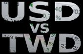US dollar versus New Taiwan dollar (TWD). Financial background. Trading terminal. poster