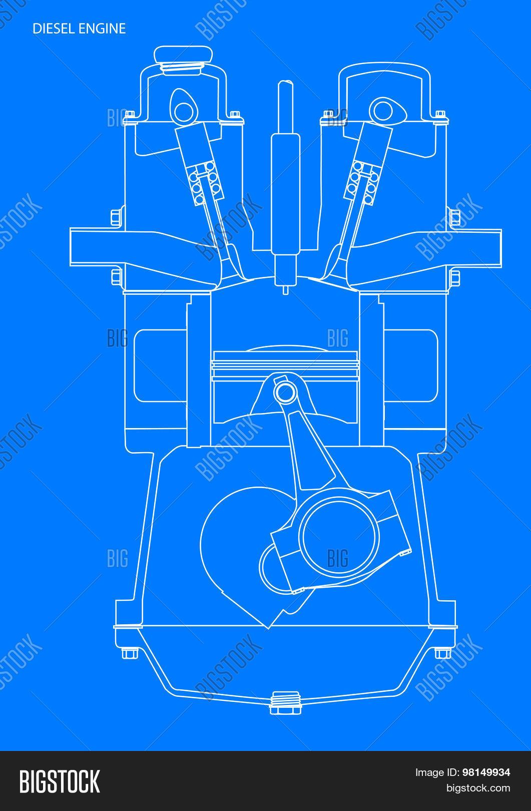 Diesel engine blueprint vector photo bigstock diesel engine blueprint malvernweather Images