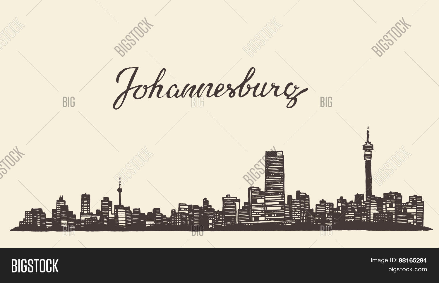 Johannesburg skyline vector photo free trial bigstock johannesburg skyline vector engraved drawn sketch thecheapjerseys Images