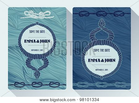 Nautical rope tying the knot wedding card on dot and floral pattern cyan background. Invitation card design