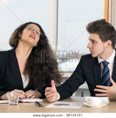 Disagreed female executive and young employee