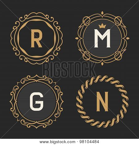The set of stylish vintage monogram emblem and logo templates.