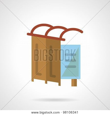 Bus station flat vector icon