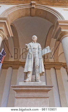 Statue Of Mathematician Gabrio Piola In Milan, Italy